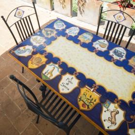 Tavolo in pietra lavica 140x80cm Palio di Siena